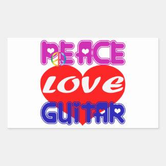 Peace Love guitar Rectangular Stickers