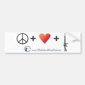 Peace + Love + Guns Bumper Sticker