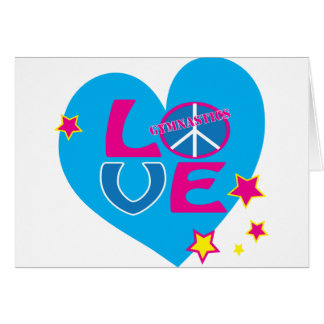 Peace Love Gymnastics Apparel and Gifts Greeting Card