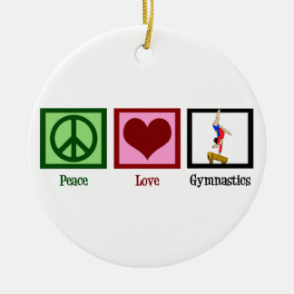 Peace Love Gymnastics Ceramic Ornament