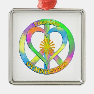Peace Love Gymnastics Silver-Colored Square Decoration