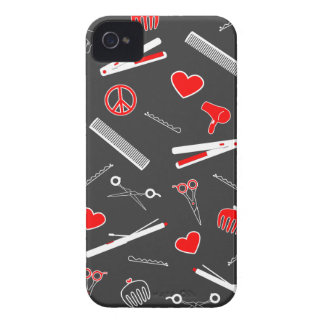Peace, Love, & Hair Accessories (Red Dark) Case-Mate iPhone 4 Case