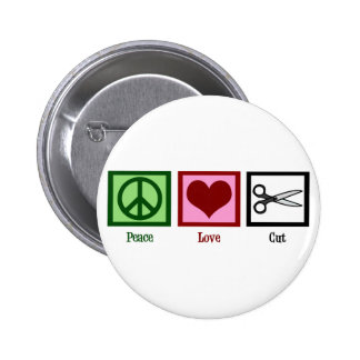 Peace Love Haircuts 6 Cm Round Badge