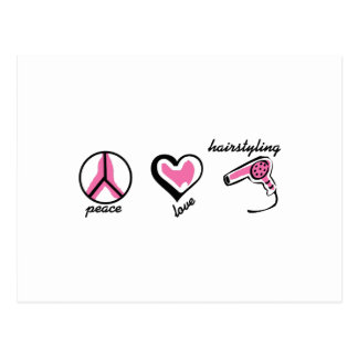 PEACE LOVE HAIRSTYLING POSTCARD