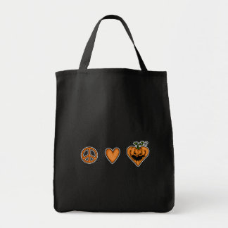 peace love halloween grocery tote bag