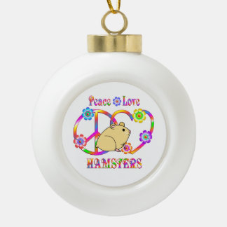 Peace Love Hamsters Ceramic Ball Christmas Ornament