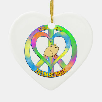 Peace Love Hamsters Ceramic Heart Decoration