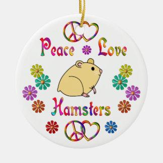 PEACE LOVE HAMSTERS CERAMIC ORNAMENT