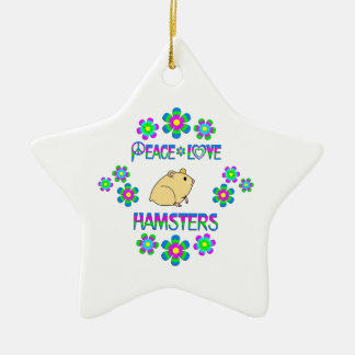 Peace Love Hamsters Ceramic Star Decoration
