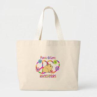 Peace Love Hamsters Large Tote Bag