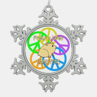Peace Love Hamsters Pewter Snowflake Decoration