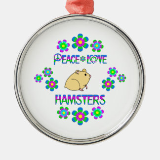 Peace Love Hamsters Silver-Colored Round Decoration