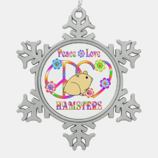 Peace Love Hamsters Snowflake Pewter Christmas Ornament