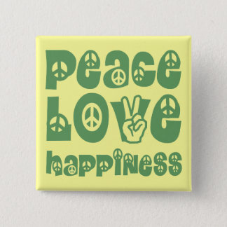 peace love happiness 15 cm square badge