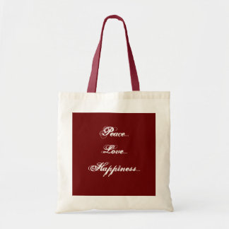 Peace, Love, Happiness Canvas Bag