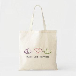 Peace + Love = Happiness Bag Budget Tote Bag