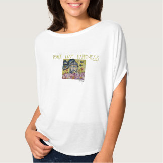 Peace Love Happiness Buddha Art Flowy T-Shirt