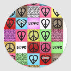 peace love happiness:) classic round sticker