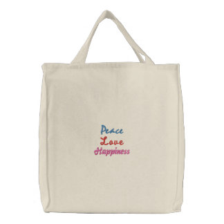 Peace, Love, Happiness-Embroidered Tote Canvas Bags