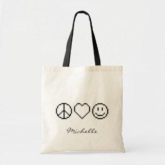 Peace love happiness pixel art tote bag