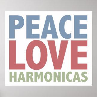 Peace Love Harmonicas Poster