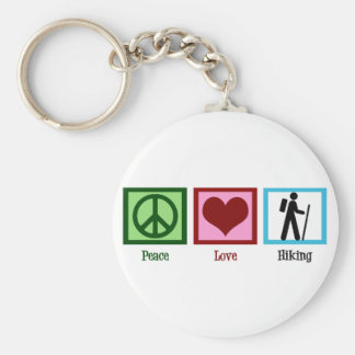 Peace Love Hiking Basic Round Button Key Ring