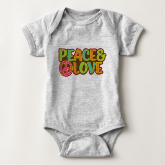 Peace & Love Hippie Baby Bodysuit