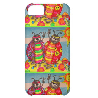Peace & Love Hippie Lady Bug Art iPhone 5C Case