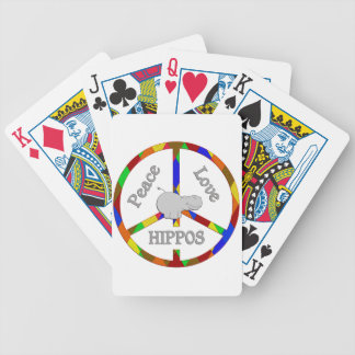 Peace Love Hippos Bicycle Playing Cards