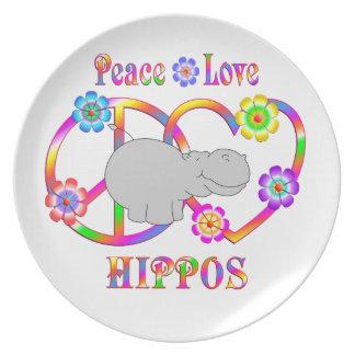 Peace Love Hippos Plate