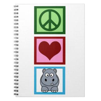 Peace Love Hippos Spiral Notebook