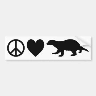 Peace Love Honey Badgers Bumper Stickers