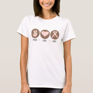 Peace, Love, Hope - Breast Cancer T-shirts
