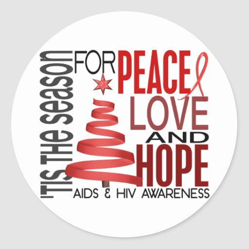 Peace Love Hope Christmas Holiday AIDS Round Sticker