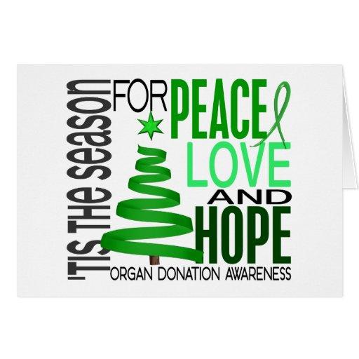 Peace Love Hope Christmas Holiday Organ Donation Greeting Card