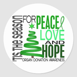 Peace Love Hope Christmas Holiday Organ Donation Classic Round Sticker
