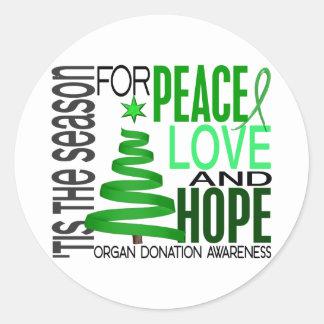 Peace Love Hope Christmas Holiday Organ Donation Round Sticker
