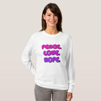 Peace, Love, Hope Womens Shirt Purple and Pink