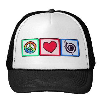 Peace, Love, Horns Trucker Hats