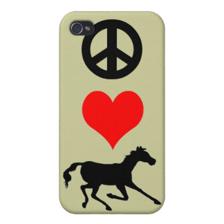 peace love horse iPhone 4 cover