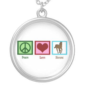Peace Love Horses Silver Plated Necklace
