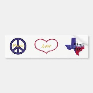 Peace Love Houston Bumper Sticker