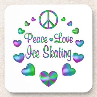 Peace Love Ice Skating Beverage Coasters