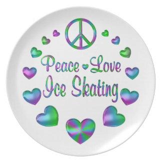 Peace Love Ice Skating Dinner Plates