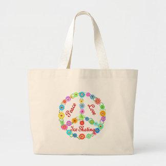 Peace Love Ice Skating Jumbo Tote Bag