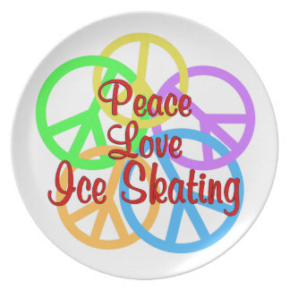 Peace Love Ice Skating Plate