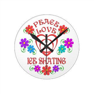 Peace Love Ice Skating Round Clock