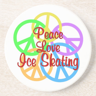 Peace Love Ice Skating Sandstone Coaster