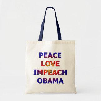 Peace Love Impeach Obama Canvas Bag