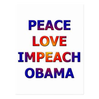 Peace Love Impeach Obama Postcard